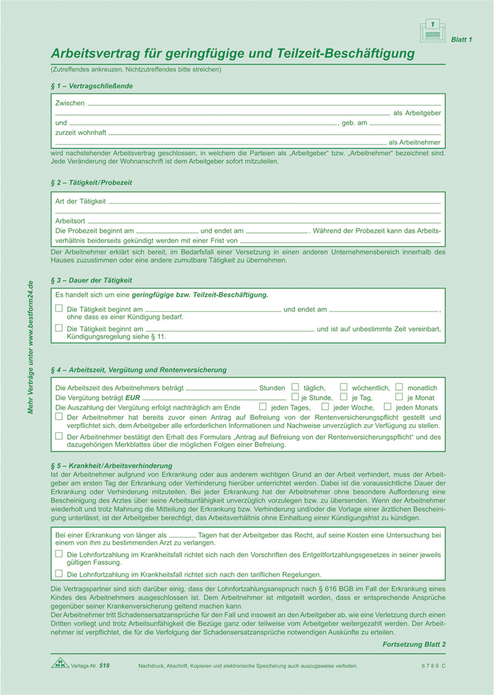 Arbeitsvertrag Für Geringfügig Und Teilzeit Beschäftigte Sd518